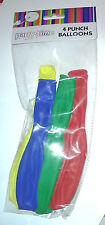 4 PUNCH BALL GIANT BALLOONS Red Yellow Green Blue ELASTIC BANDS Birthday Party