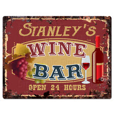 PLWB0292 STANLEY'S WINE BAR Rustic Tin Chic Sign Home Store Decor Gift Ideas