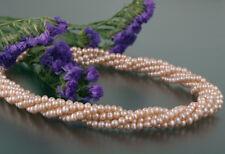 Echte Zucht-Perlenkette Perlencollier P004 4reihig gedreht Kupfer 60cm NEU