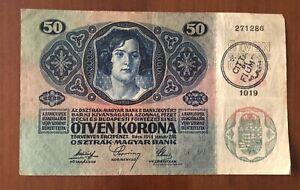 Banconota Timbro  Fiume Da  50 Corone Kronen Austria Ungheria.