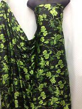 Designer Soft Satin Print Floral Black / Green   Dress Craft Fabric