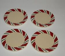 Longaberger Pottery Peppermint Candy Cane Strip Coasters, set of 4