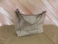 Lauren Ralph Lauren Handbag/Purse Brown/Tan/Maroon Houndtooth Womens Small Bag