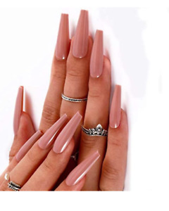 Sale Blush Gel Infused Acrylic Artificial Glue on Nails Coffin Shape Shiny 20pcs