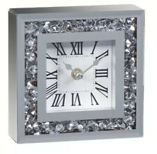 Silver Glitter Frame Bling Contemporary Mantle Clock Crystal Gift Square 14CM