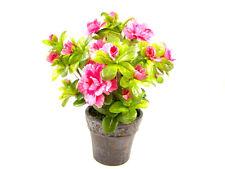 SETA artificiale in vaso fiori rosa azalea ~ PIANTA ARTIFICIALE
