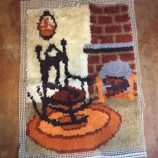 """Chair by Fireplace Latch Hook Rug Finished Wall Hanging 23"""" x 30"""""""