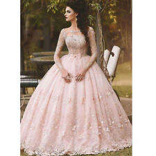 Pink Long Sleeve Prom Dresses Ball Gown Appliqued Sweet 16 Quinceanera Dresses