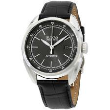 Bulova Grey Dial Black Leather Strap Men's Watch 63B188