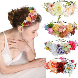 Adjustable Women's Flower Headband Crown Hair Wreath Garland Wedding Hairband