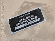 plate plaque radio us ww2 BC659 K ALU jeep