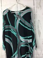 NWT JM Collection Women 2X, Geometric Multi Color, 3/4 Sleeve Stretch Tunic Top