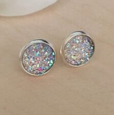 12mm Sparkly Clear Round Druzy Earrings Studs Bridesmaid GIFT Jewellery Birthday