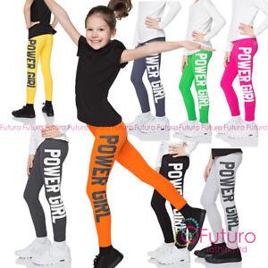 Children Cotton POWER GIRL Print Leggings Full Length Kids Pants All Ages CHPWG