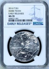 2016 P Silver Mark Twain Commemorative NGC MS70 Early Releases Dollar Coin $1