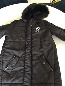 GYM KING BLACK LADIES MID LENGTH COAT WITH HOOD NEW NO TAGS £40 Rrp £95 12/14