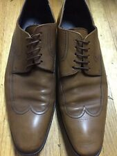 Hugo Boss Mens Shoes 7.5 Wing Tip Brown Tan Leather Nice!