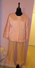 Oskar de la Renta Women Sz-L Pink Solid Sleewear  Pajama Set Lounge  Polyester