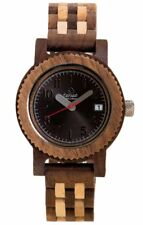 Tense Mini Yukon - Ladies Oversized Wooden Watch w/ Calendar Dark Sandalwood /