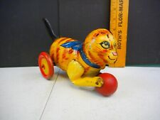 Vintage Marx Tin Toy Cat Chasing Ball Friction