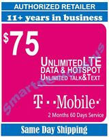T-Mobile Prepaid plan $75 Unlimited 4G LTE DATA 2 month (60 Days) Service
