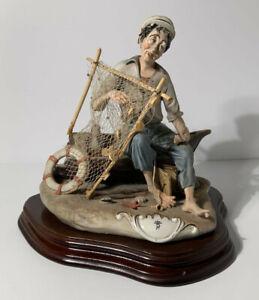 Large Capodimonte Porcelain FISHERMAN figurine 3.6kg!