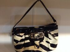 "Guess Mini purse Black& White 8"".5 Wide 5"" deep Paten Leather"