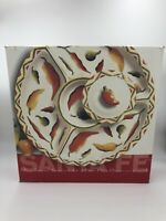 """Clay Art Santa Fe White Chili Pepper 16"""" Chip Dip Divided Tray Round w/ Lid NEW"""