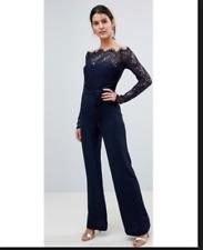 Lioness Off Shoulder Lace Top Wide Leg Jumpsuit - Navy/black Size XS