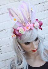 Secret Garden Pink Feather Flapper Head Dress Headband Festival Flower Crown