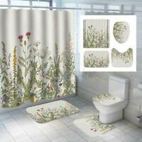4Pcs/Set Blumen Wasserfest Duschvorhang Badezimmer Pflanze Wc Sitzbezug Matte
