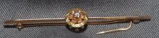 ELEGANT VICTORIAN MULTI-COLOR GREEN, PINK & YELLOW GOLD BAR PIN WITH DIAMOND