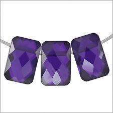 6 Cubic Zirconia Rectangle Cushion Beads 6x9mm Amethyst #96013