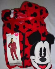 NEW Disney's Mickey Mouse Footed Pajamas Allover Red Black 1 PC S M L XL XXL LTD