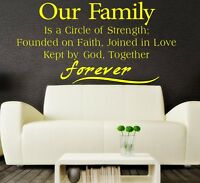 Our Family forever - VINYL WALL QUOTE , VINYL STICKER, WALL ART