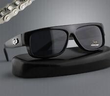 Black Plastic Sunglasses Low Flat Shades Dark Lens LA Gangs Rider for Men L9001