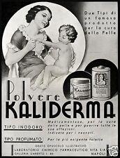 PUBBLICITA' 1935 KALIDERMA POLVERE TALCO BIMBO LABORATORIO FARMACIA  VITA NAPOLI
