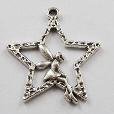 Free ship 160pcs  tibet silver star angel Charms 29x25mm
