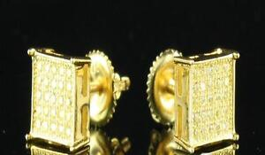 Mens Square Yellow Gold Canary Yellow Bling Iced Stud Micro Hip Hop Earrings