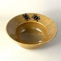 Wheel Thrown Studio Art Pottery Bowl Mustard Yellow Black Scarab Signed Coldiron