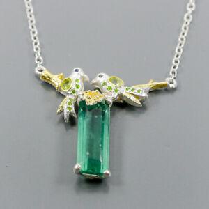 Top Emerald color gem Fluorite Necklace 925 Sterling Silver  Length 19/N05817