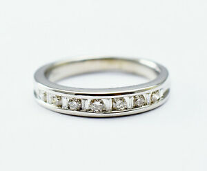 14K White Gold .38ctw Baguette and Round Diamond Ring