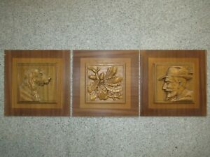 1 Trio of hand-carved walnut wood panels from the 1960s / Black Forest motif