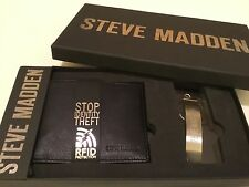 NEW IN GIFT BOX! STEVE MADDEN BLACK LEATHER-BIFOLD WALLET WITH RFID PROTECTION!
