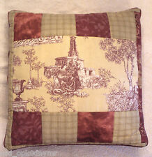 "VTG Patchwork Toile Throw Pillow 16"" Square Red Brown Beige Cottage Chic Print"