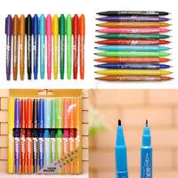 12Pcs/Lot Waterproof Colorful Marker Pen Fine Twin Tip Permanent Oily Pens Set