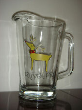 Pottery Barn Reindeer Glass Pitcher Rudolph