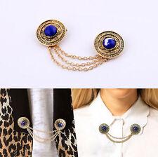 Luxury Womens Metal Vintage Tassel Chain Neck Collar Clip Tip Brooch Pin Jewelry
