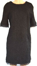 CHANEL BLACK EVENING METALLIC APPLIQUE SHORT SLEEVES CRASH NET DETAIL DRESS 42