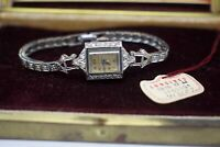 Vintage 1940s Longines Palladium & 14k Gold & Diamond Ladies Wristwatch w/ Box